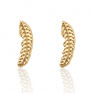 Trendy earrings studs feather Gold