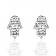 Trendy earrings studs Hamsa hand Silver