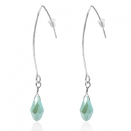 Trendy earrings with drop shaped faceted pendant Silver-Azure Blue Half Gold Pearl Shine Coating
