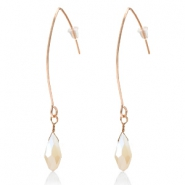 Trendy earrings with drop shaped faceted pendant Rose Gold-Cream Beige Half Topaz Pearl Shine Coating