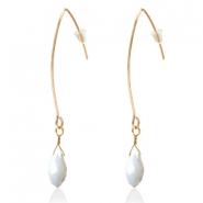 Trendy earrings with drop shaped faceted pendant Gold-White Pearl Shine Coating