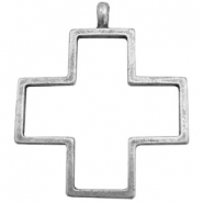 Charms TQ metal open cross Antique Silver