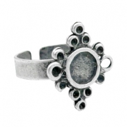 Findings TQ metal adjustable ring with setting Matt Antique Silver