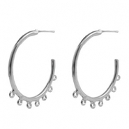 Findings TQ metal Creole earrings 30mm with loops Antique Silver