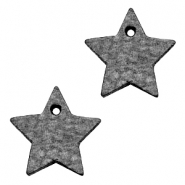 DQ leather charms star Antracita Black
