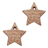 DQ leather charms star Smoke Cognac Brown