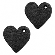 DQ leather charms heart Midnight Black