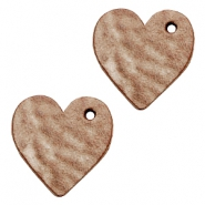 DQ leather charms heart Smoke Cognac Brown
