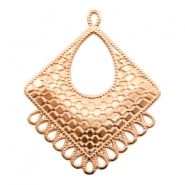 DQ metal charms rhombus with 14 loops Rose Gold (nickel free)