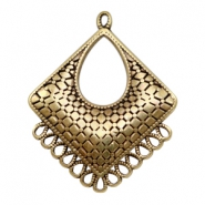 DQ metal charms rhombus with 14 loops Antique Bronze (nickel free)