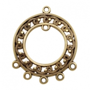 DQ metal charms round with 7 loops Antique Bronze (nickel free)