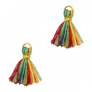 Tassels Ibiza style 1cm Gold-Multicolour Red Green