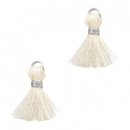 Tassels Ibiza style 1cm Silver-Off White