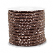 Stitched faux leather 4x3mm reptile Chocolate Brown