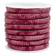 Stitched faux leather 6x4mm reptile Mulberry Red