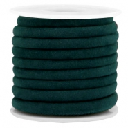 Trendy stitched velvet cord 6x4mm Emerald Green