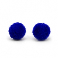 Velvet pompom beads 6mm Cobalt Blue