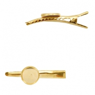 Settings hair clip metal for cabochon 12 mm Gold