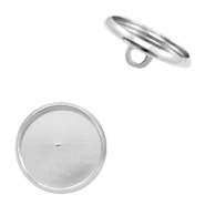 Settings button metal for cabochon 12mm Antique Silver