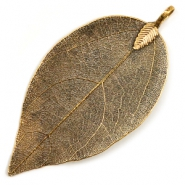 Charm with 1 loop metal leaf Antique Gold