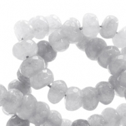 8 mm natural stone faceted beads disc Jade Light Grey