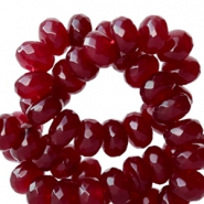 8 mm natural stone faceted beads disc Agate Dark Vintage Red