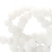 8 mm natural stone faceted beads disc Jade Off White