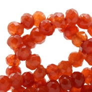 6 mm natural stone faceted beads disc Jade Rust Orange