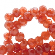 6 mm natural stone faceted beads disc Jade Ginger Orange