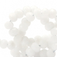 6 mm natural stone faceted beads disc Jade Off White
