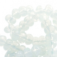 6 mm natural stone faceted beads disc Jade White Opal