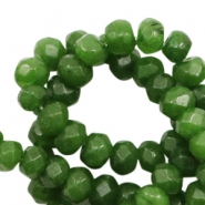 4 mm natural stone faceted beads disc Jade Classic Green