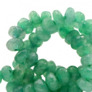 4 mm natural stone faceted beads disc Jade Vintage Green