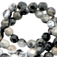 3 mm natural stone faceted beads disc Nature Colours Taupe Grey