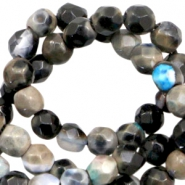 3 mm natural stone faceted beads disc Anthracite Grey