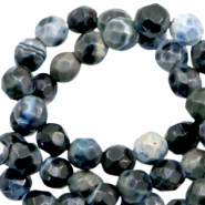 3 mm natural stone faceted beads disc Anthracite Blue