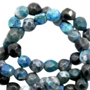 3 mm natural stone faceted beads disc Multicolour Blue