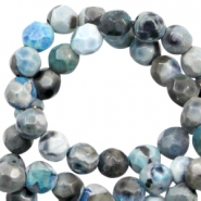 3 mm natural stone faceted beads disc Blue Grey