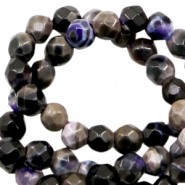 3 mm natural stone faceted beads disc Purple Black