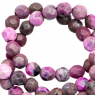 3 mm natural stone faceted beads disc Multicolour Pink