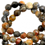 3 mm natural stone faceted beads disc Earth Brown Orange