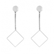 Flower shaped earrings studs & square Silver