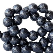 6 mm acrylic beads with glitter Deep Dark Blue