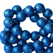 6 mm acrylic beads with glitter Cobalt Blue