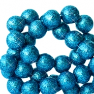 6 mm acrylic beads with glitter Dark Ocean Blue