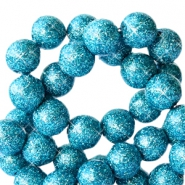 8 mm acrylic beads with glitter Turquoise Blue