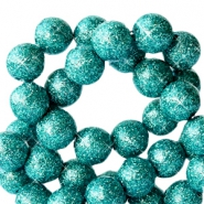 4 mm acrylic beads with glitter Dark Turquoise Green