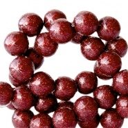6 mm acrylic beads with glitter Port Red