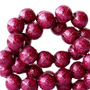 8 mm acrylic beads with glitter Cherish Pink