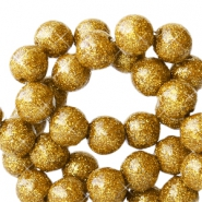 8 mm acrylic beads with glitter Gold
